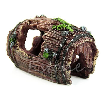 Aquarium Fish Tank Artificial Barrel Ornament Cave