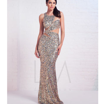 LM by Mignon HY1214 Gold Sequin Sheer Illusion Cut Out Dress 2015 Prom Dresses
