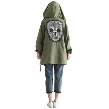 Women's Embroidery Skull Hooded Long Sleeve Casual Loose Jacket