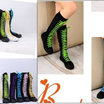 CREYUG3 PUNK Women Rock Boot Girls Shoes Sneaker Knee High Zip Laces Up revit boots black = 1945735236
