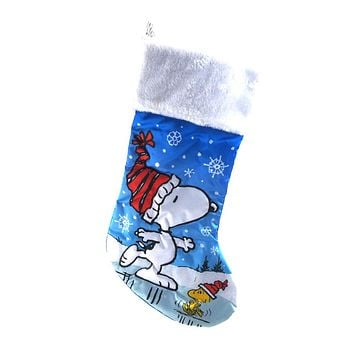 Snoopy and Woodstock Skating Satin Christmas Stocking, 19-Inch