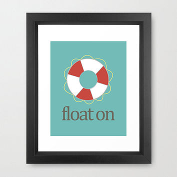 "Nautical, ""Float On"" Life Saver, Blue, Red, White, Gray, Marine, Nursery, Water, Sea, Ocean 8x10 Digital Download Wall Art Decor Print"