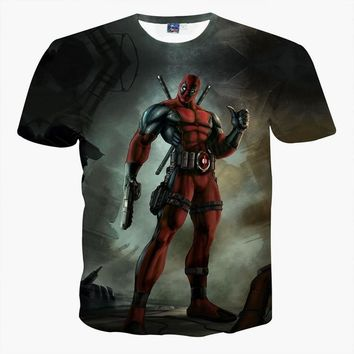 Summer clothes Marvel Badass Deadpool big boys 3d t shirt large size Children T-shirt anime People