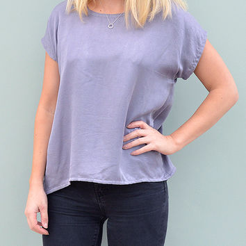 Grey Silk Top With Back Pleats by Desire Lines