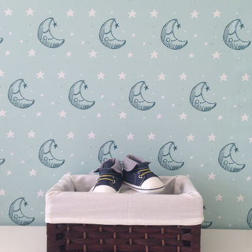 "Peel & Stick Wallpaper, ""Sweet Dreams"" Wallpaper, Nursery Wallpaper, Kids Room, Gender Neutral Wallpaper, Moon and Stars"