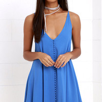 Cute as a Button Blue Swing Dress