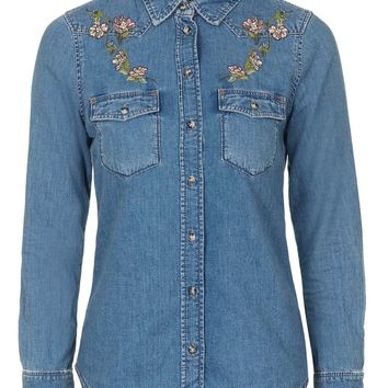MOTO Embroidered Western Shirt - Topshop
