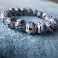 Hand Painted Willow Pattern Ceramic Bracelet, Cobalt Blue and White Qing Hua Enamel Porcelain Beaded. Traditional Enamel Chinese handmade.