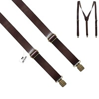 Glossy Brown Leather Suspenders
