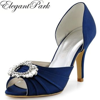 Shoes Woman A2136 Navy Blue Peep Toe High Heel Bridesmaid Pumps b3a27bde5700