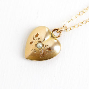 Vintage 10k Gold Filled Puffy Heart Seed Pearl Pendant Necklace - Art Deco 1930s 1940s Small Jewelry Floral Charm on 14k Gold Filled Chain