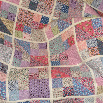 Lap Quilt, Vintage Calico,  Pieced Blocks