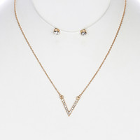 Paved Crystal Charm Earring & Necklace Set