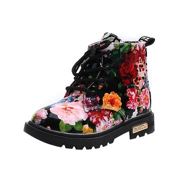 Cute Girls Boots New Fashion Elegant Floral Flower Print Kids Shoes Baby Martin Boots Casual Leather Children Boots