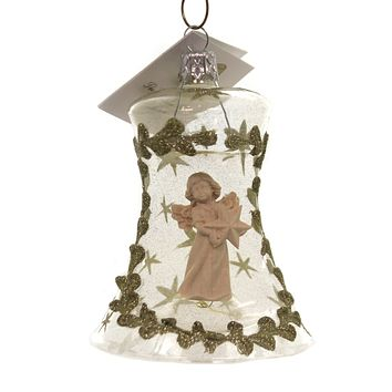 Golden Bell Collection ANGEL IN  ORNAMENT Glass Christmas Sea005 Bell