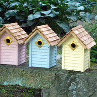 More Birdhouses & Feeders - BEACH HUT BIRDHOUSE SET OF 3 MIXED COLORS
