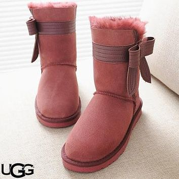 Free shipping-UGG oversized side bow female snow boots #8