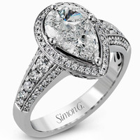 Simon G. 18K White Gold Mosaic Pear Cut Diamond Halo Engagement Ring