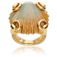 Gucci Gold Sea Green Seashell Horsebit Cocktail Ring