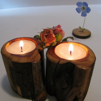 Handmade candle holders. Two woodland tealight candle holders cut from dead standing juniper.