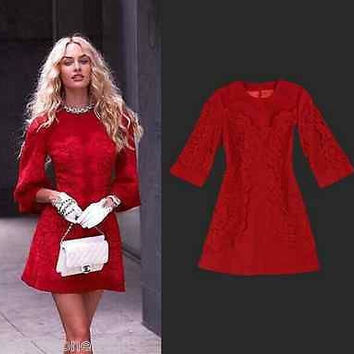 Runway Luxury Lace Wool Dress Plus Size 3/4 Sleeve Winter Fall S M L XL XXL XXXL