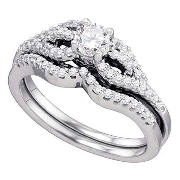 14kt White Gold Women s Round Diamond Bridal Wedding Engagement Ring Band  Set 3 4 Cttw 3cdbe7622
