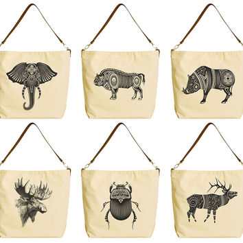 Wild Animals Tatoo Art Beige Printed Canvas Tote Bag with Leather Strap WAS_29
