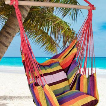 Distinctive Cotton Canvas Hanging Rope Chair with Pillows Hammock Patio Swing HOT SALE