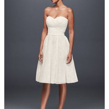 Strapless Lace Short Wedding Dress - Davids Bridal
