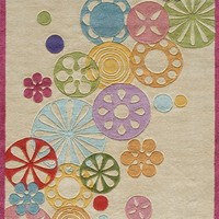 Momeni Rugs LMOTWLMT-8IVY4060 Lil' Mo Hipster Collection, Kids Themed Hand Carved & Tufted Area Rug, 4' x 6', Ivory