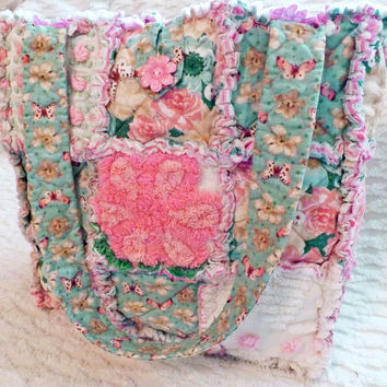 Rag Quilt Tote Vintage Chenille Pink and Teal by PandJCrafts
