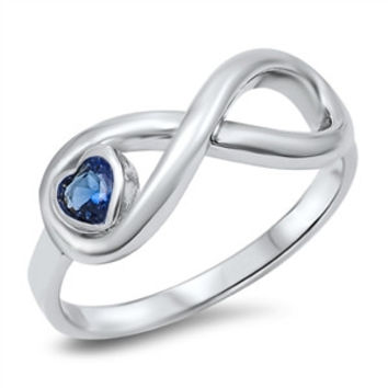 Sterling Silver Cubic Zirconia heart Birthstone Infinity Ring
