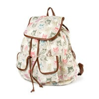 Multicolored Owl Print Backpack
