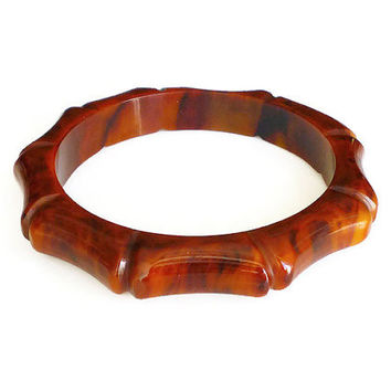 Bakelite Bamboo Bracelet, Bakelite Bangle, Terra Cotta, Marbled, Red Orange, Carved, Early Plastic, Vintage Jewelry