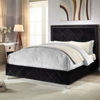 Hampton Black Velvet Queen Bed