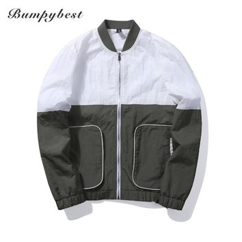 Men Autumn Jackets Casual Thin Male Windbreakers College Bomber Black Windcheater Varsity Jackets