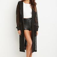Mesh-Paneled Trench Coat