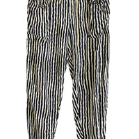 Black Vintage Striped Print Tying Pants