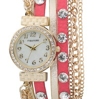 coral faux leather wrap watch with chains and rhinestones