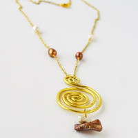 Hammered Aluminum Jewelry, Wire Wrapped Fresh Water Pearls, Keishi Pearls,Gold Spiral Pendant, Boho Necklace, BoCade Jewelry, Brass Necklace
