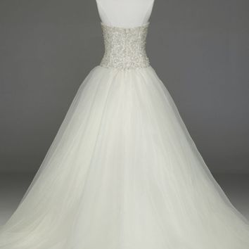 Organza Embroidered Bodice Ball Gown - David's Bridal - mobile