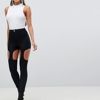 ASOS RIVINGTON High Waisted Jeggings With Suspender Detail In Clean Black at asos.com