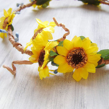 Sunflowers Crown, Autumn Harvest Crown, flower crown, flower tiara, yellow orange flowers hair accessory, woodland wedding, rustic,headpiece