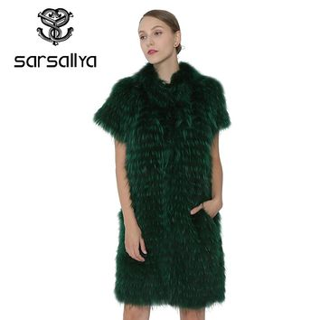 SARSALLYA  Winter Women Real Fox Fur Vest Coat Real Silver Fox Fur Vest Fashion Jacket Women Outerwear Clothes Mink Coat