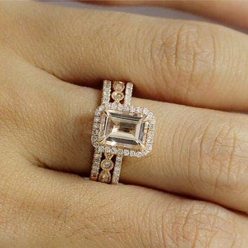 14k Rose Gold Handmade Pink Morganite 6x8mm Cushion Halo DiamondEngagement Ring and 2 Half Wedding Band Set