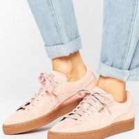 Puma Pink Suede Classic Sneakers With Gum Sole at asos.com