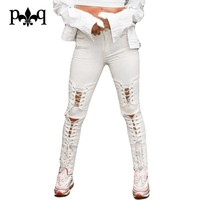High Waist Jeans Women Autumn Streetwear Sexy Lace Up Long Pant Hole Knee Ripped Jeans For Women Skinny Jeans Black White