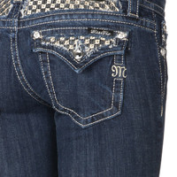Miss Me Gold/Silver Weave Flap Pocket Straight Cut Jean
