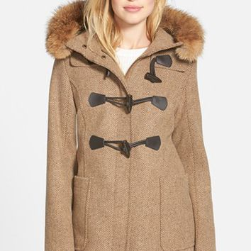 Women's Pendleton 'Berkley' Wool Blend Twill Duffle Coat with Genuine Coyote Fur Trim,