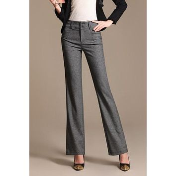High Waist Linen Formal Work Straight Women Dress Pants Trousers